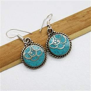 Traditional Tibetan Silver Turquoise Women's Earring