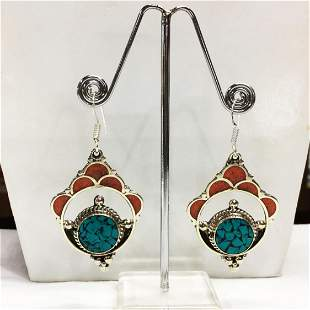 Vintage turquoise & coral Tibetan Silver Earring