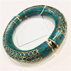 Tibetan Silver Turquoise Hand-Carved Bangle