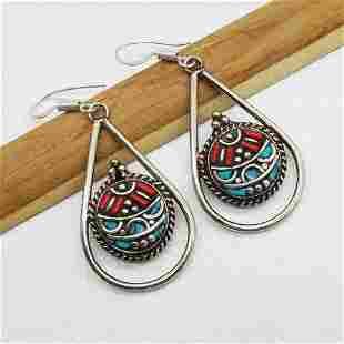 Banjara Turquoise & Coral Tibetan Silver Earring