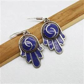 Tibetan Lapis Fatima hand Handmade Earring