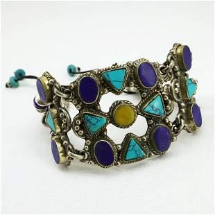 New Arrival - Turquoise, Lapis & Amber Ethnic Bracelet