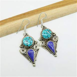 Tibetan Silver Hand-Carved Turquoise Earrings