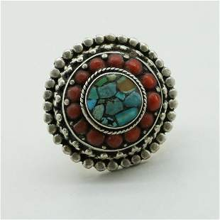 Tibetan Turquoise & Coral Hand Carved Ring - 7MM