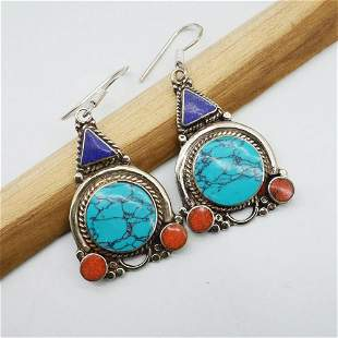 New - Natural Turquoise & Coral Handmade Earrings
