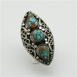 Tibetan Natural Turquoise Hand Carved Ring - 9MM