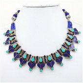 Natural Lapis & Turquoise Handmade Necklace
