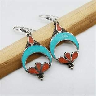 Boho Vintage Turquoise & Coral Earrings