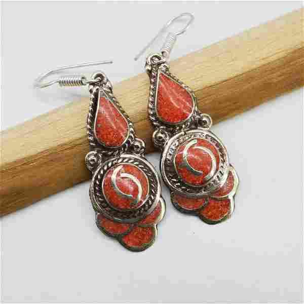 Tibetan Silver Coral Earring - Handmade in Nepal