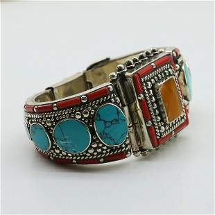 Natural Turquoise & Amber Hand-Carved Bangle