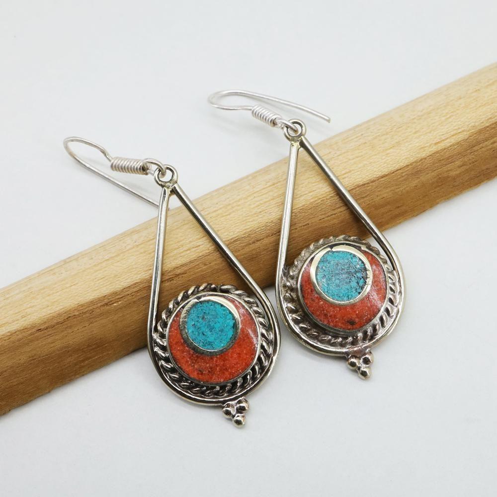 Turquoise & Coral Earrings / Tibetan Silver Earrings