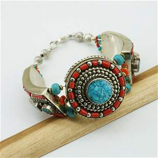 New Arrival - Turquoise & Coral Beaded Bracelet