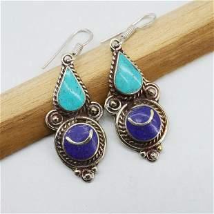 Tibetan Silver Earrings / Natural Turquoise & Lapis