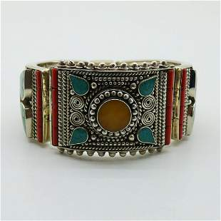 Turquoise & Amber Hand-Carved Ethnic Bangle