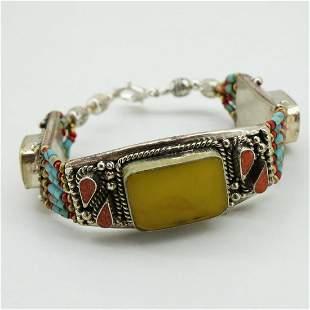 New Arrival - Amber & Coral Handmade Bracelet