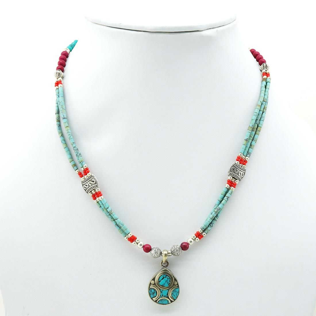 Tibetan Turquoise & Coral Beaded Pendant Necklace
