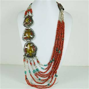 Tibetan Amber & Coral Handmade Tribal Long Necklace