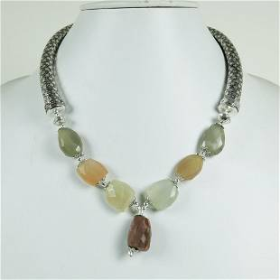 Indian Hand Carved Metal With MoonStone Necklace