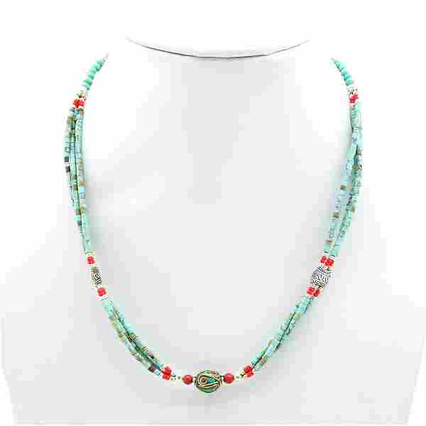 Tibetan Turquoise & Coral Beaded Necklace