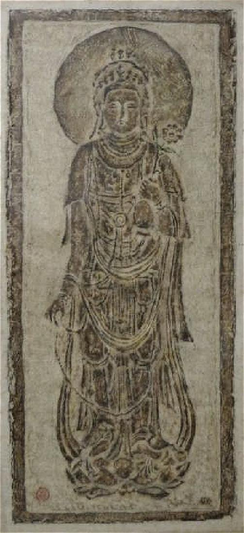 chinese rare ink rubbing of guanyin