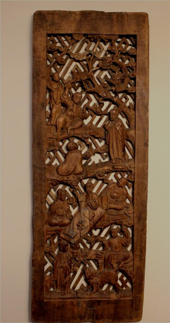 chinese rare wood carved buddha figures' panel