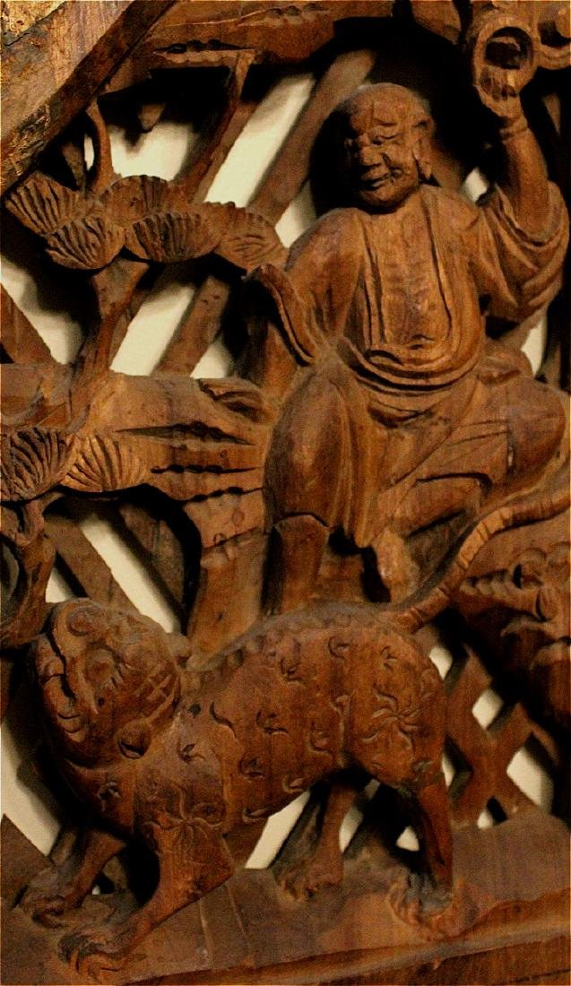 chinese rare wood carved buddha figures' panel - 2