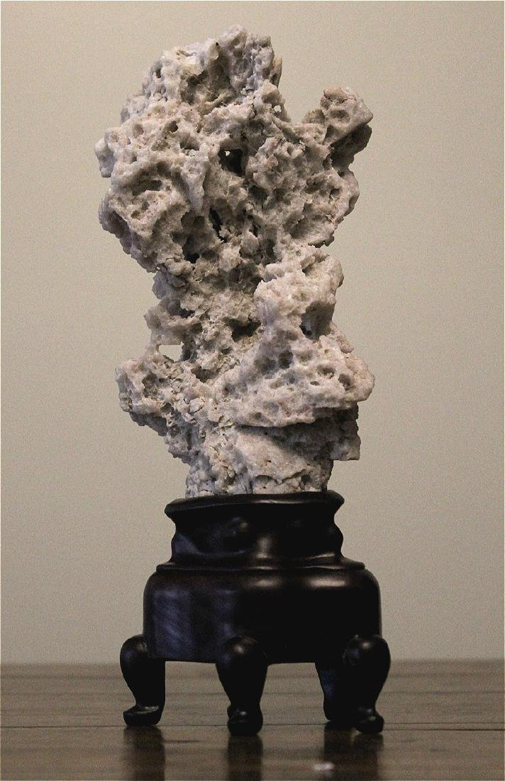 chinese white scholar stone with stand