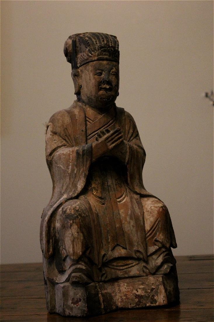 chinese wood carved scholar/ daoist figure