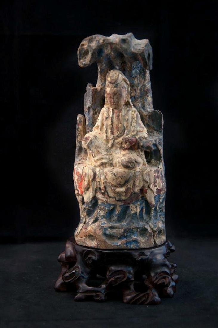 chinese wood carved polychromed guanyin