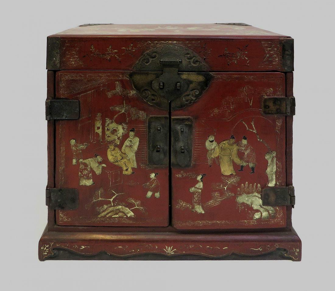 chinese wood red lacquered scholar chest
