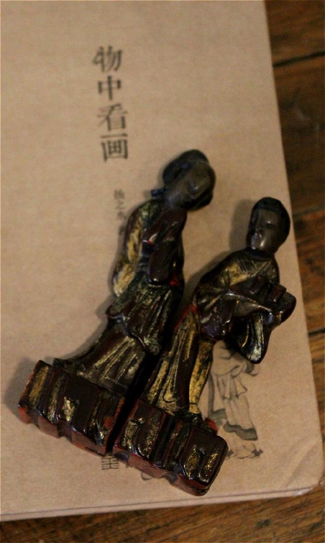 chinese pair of lacquered wood figures