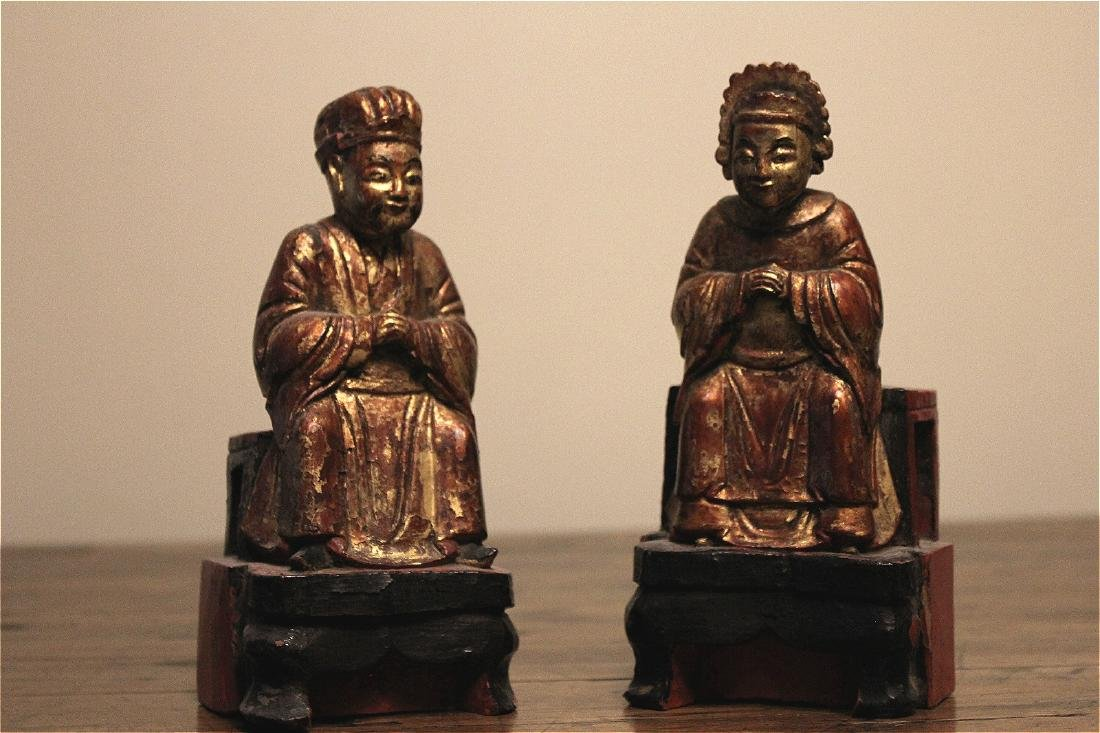 chinese pair of wood carved figures