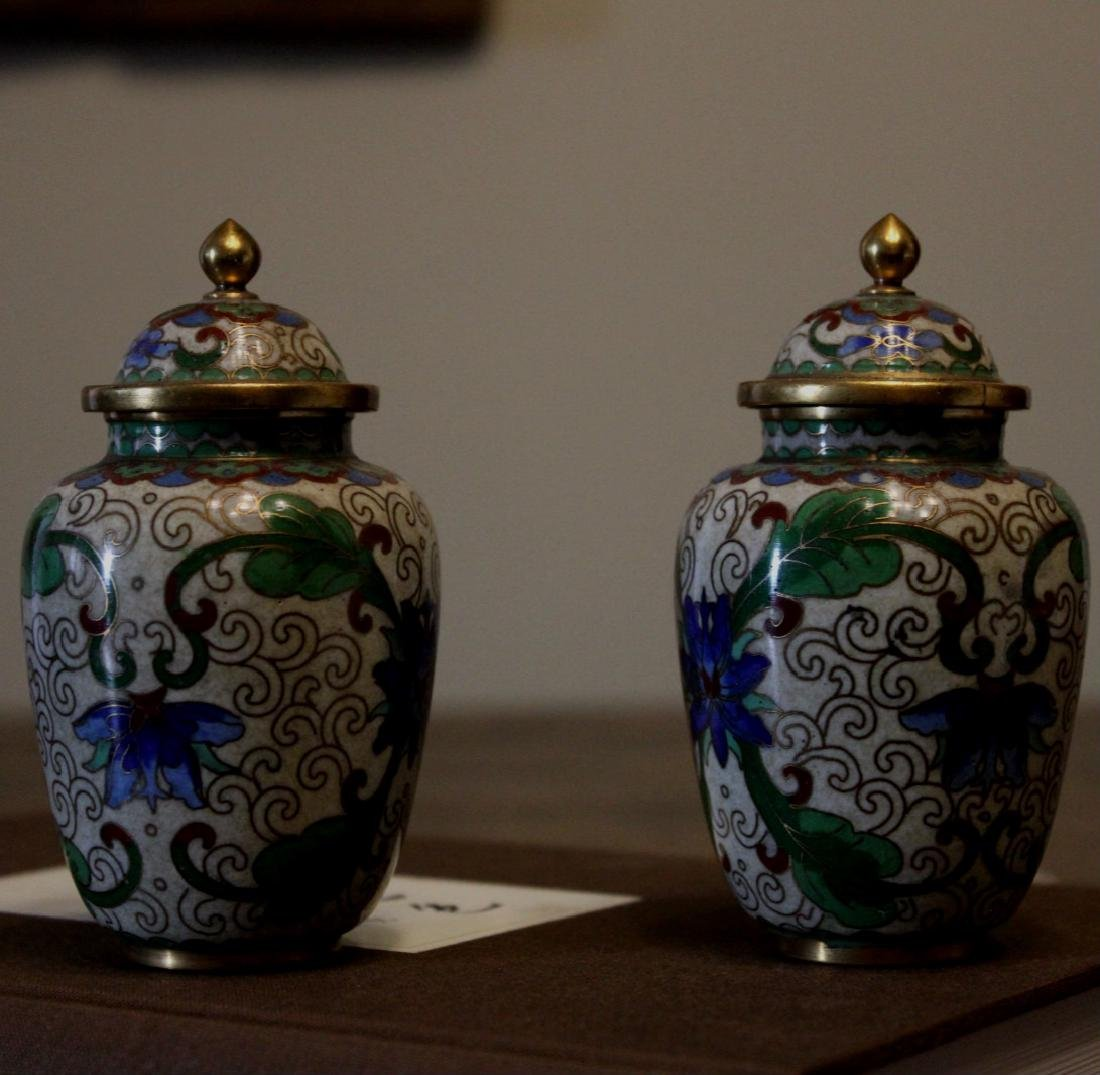 chinese pair of cloisonne jars