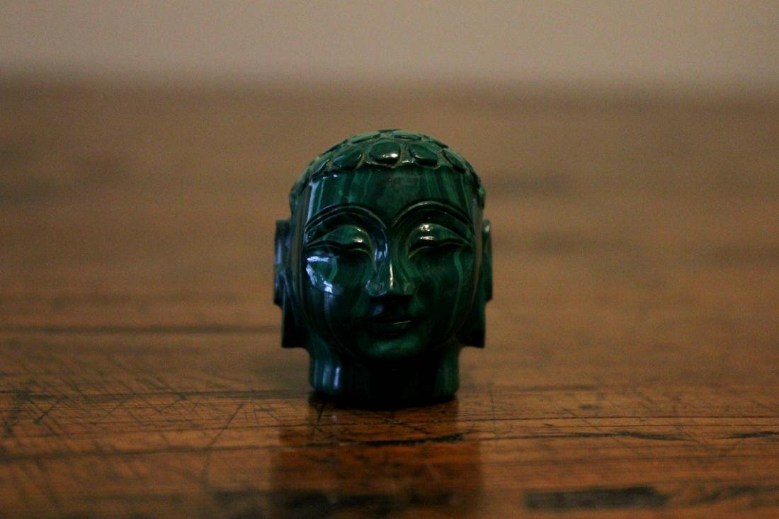 chinese fine malachite carved buddha head