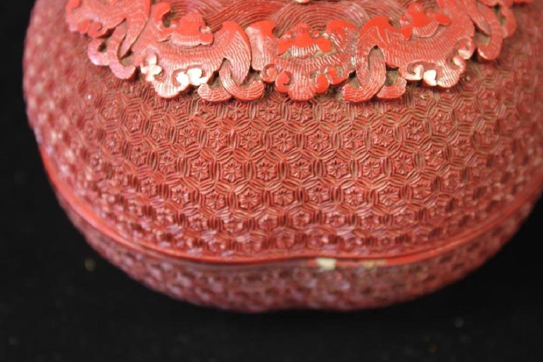 chinese rare qianlong cinnibar box - 4