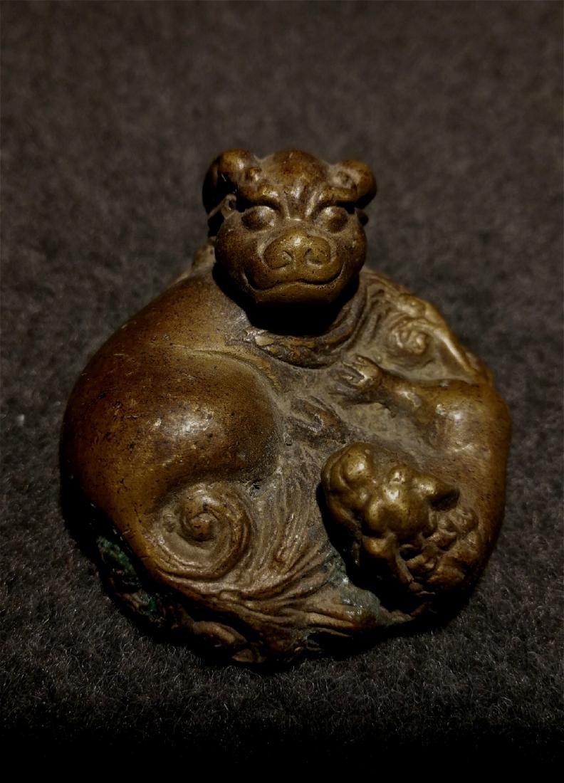 chinese fine bronze scholar weight - 2