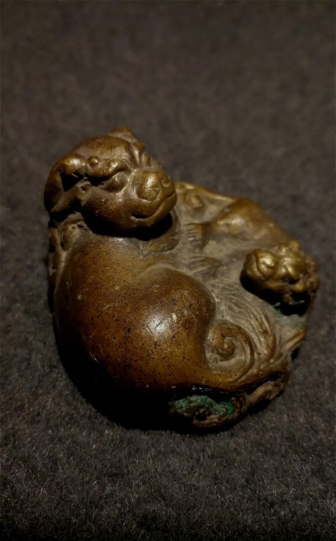 chinese fine bronze scholar weight - 4