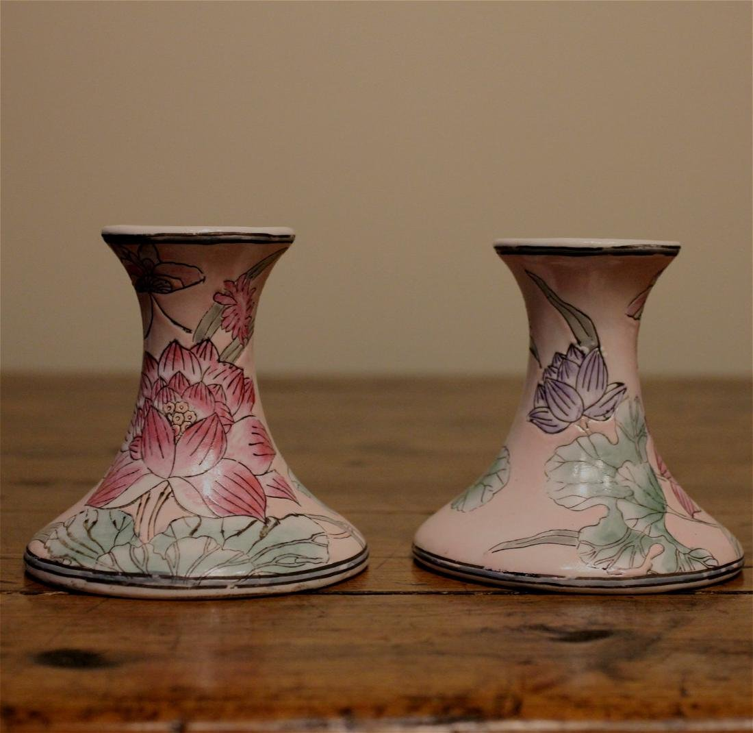 chinese pair of famille rose candle holder