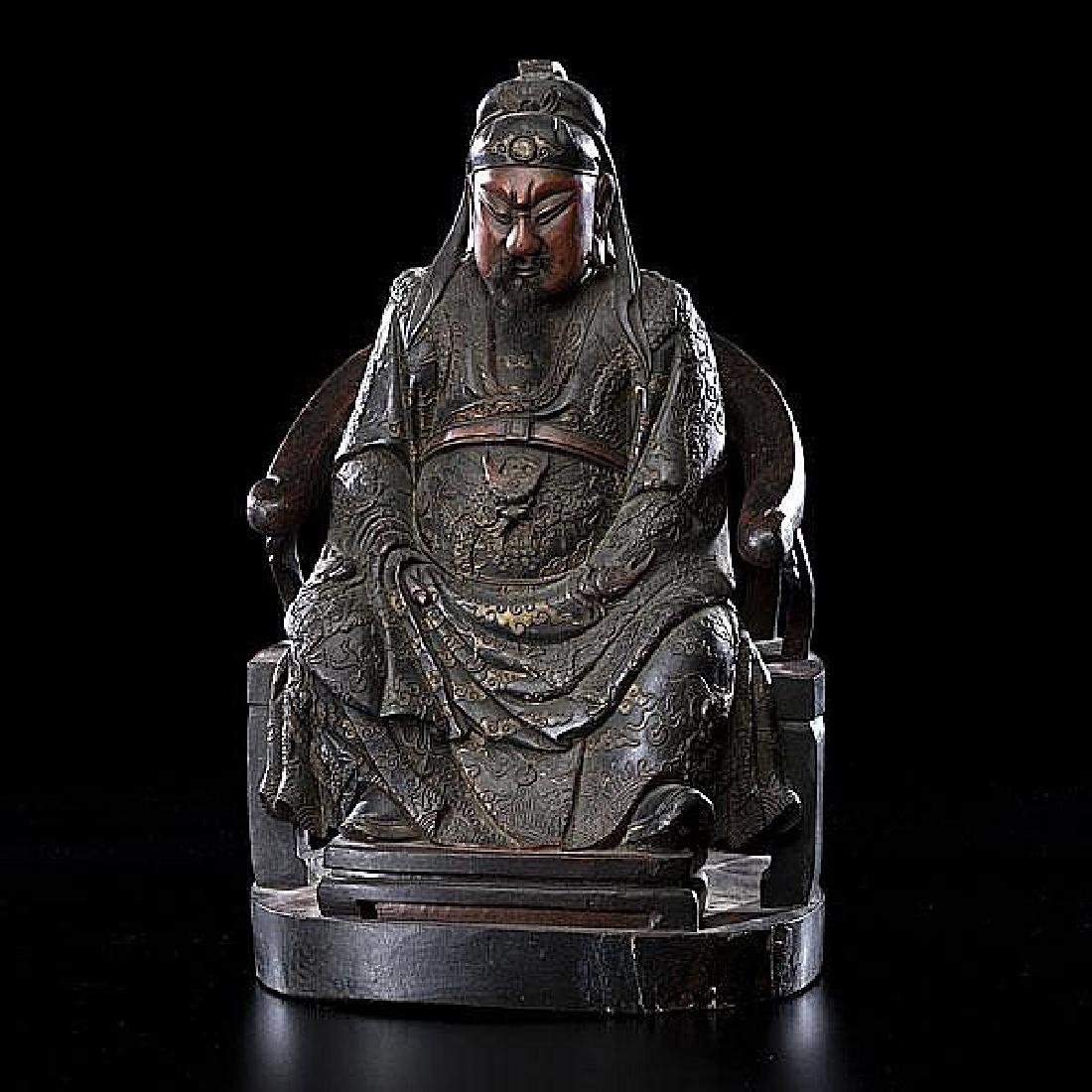 chinese lacquered wood carved god guan