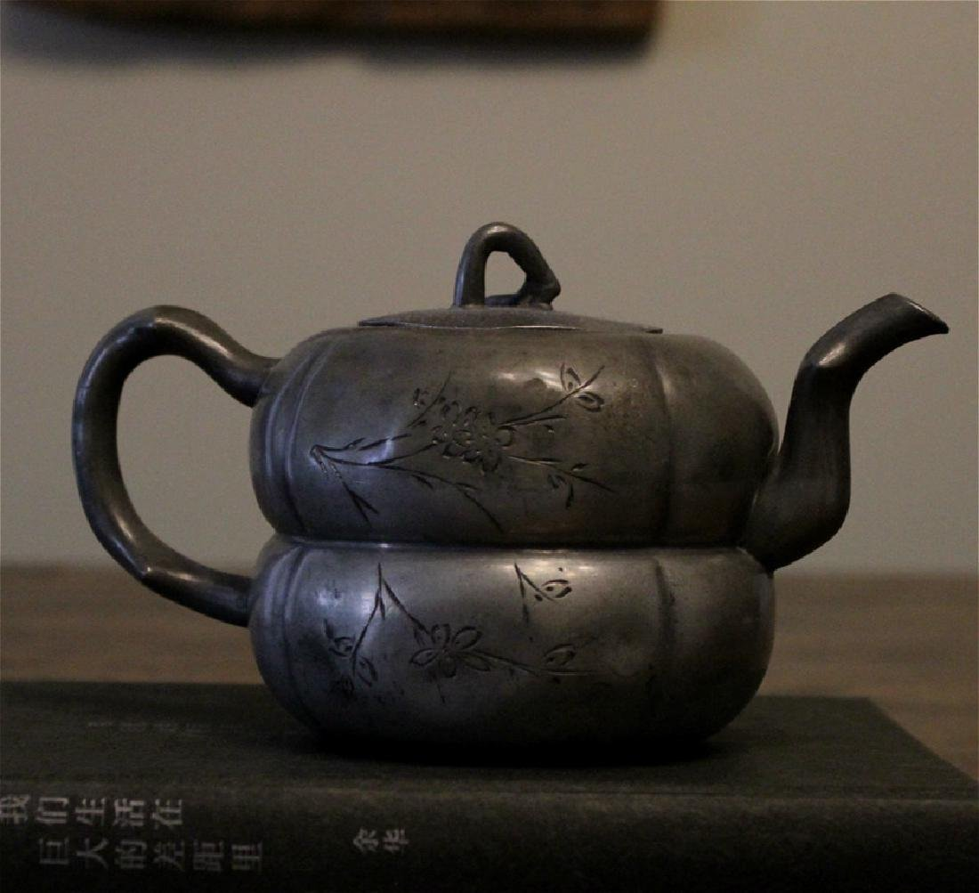 chinese antique pewter teapot - 2
