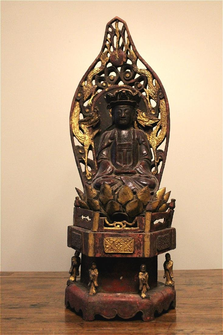 chinese lacquered wood guanyin shrine
