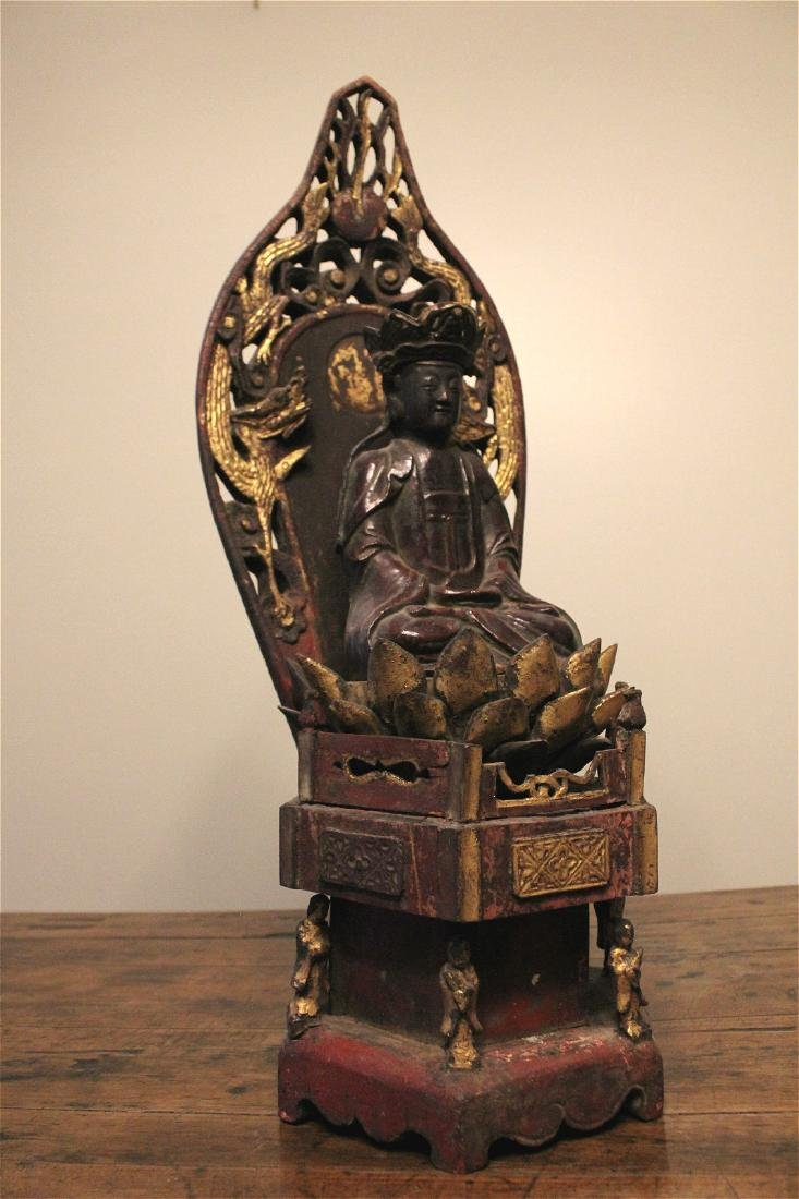 chinese lacquered wood guanyin shrine - 2