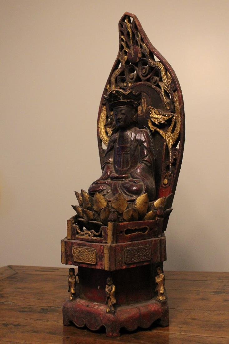 chinese lacquered wood guanyin shrine - 3