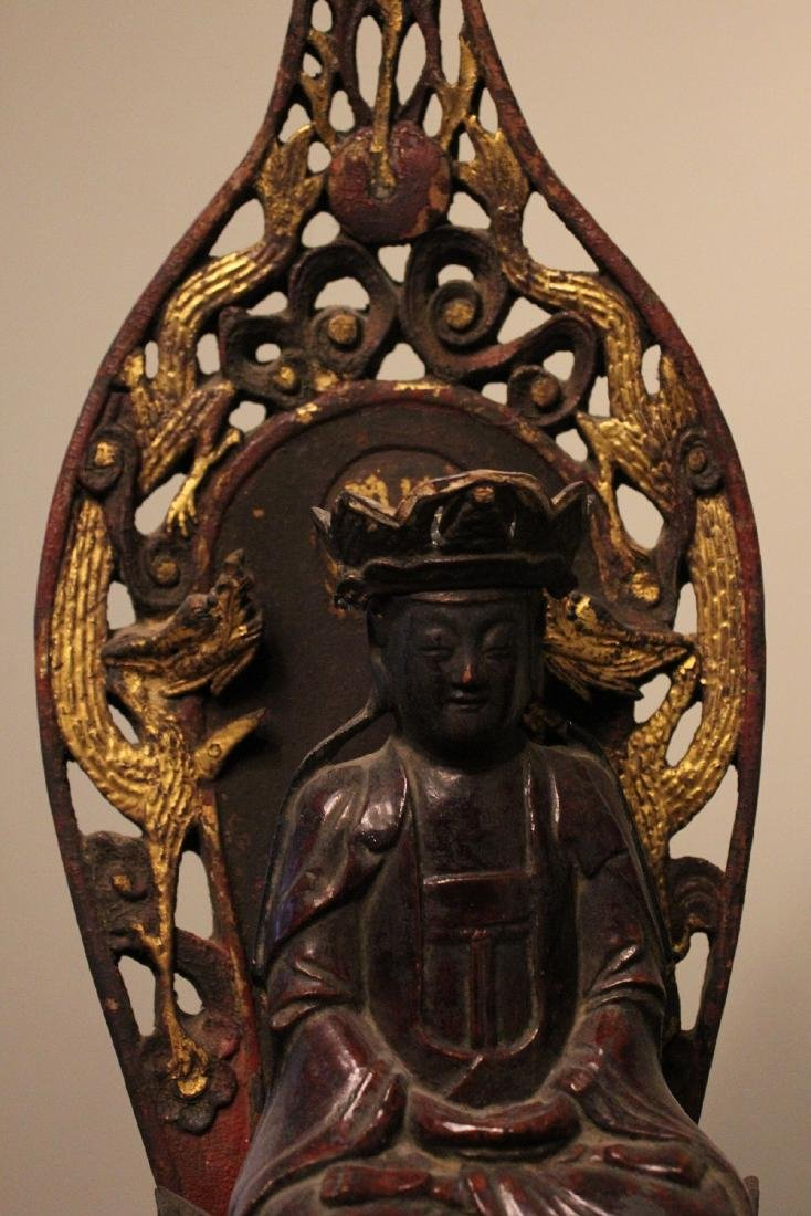 chinese lacquered wood guanyin shrine - 4