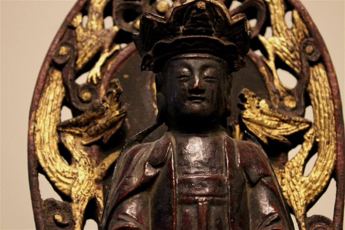 chinese lacquered wood guanyin shrine - 5
