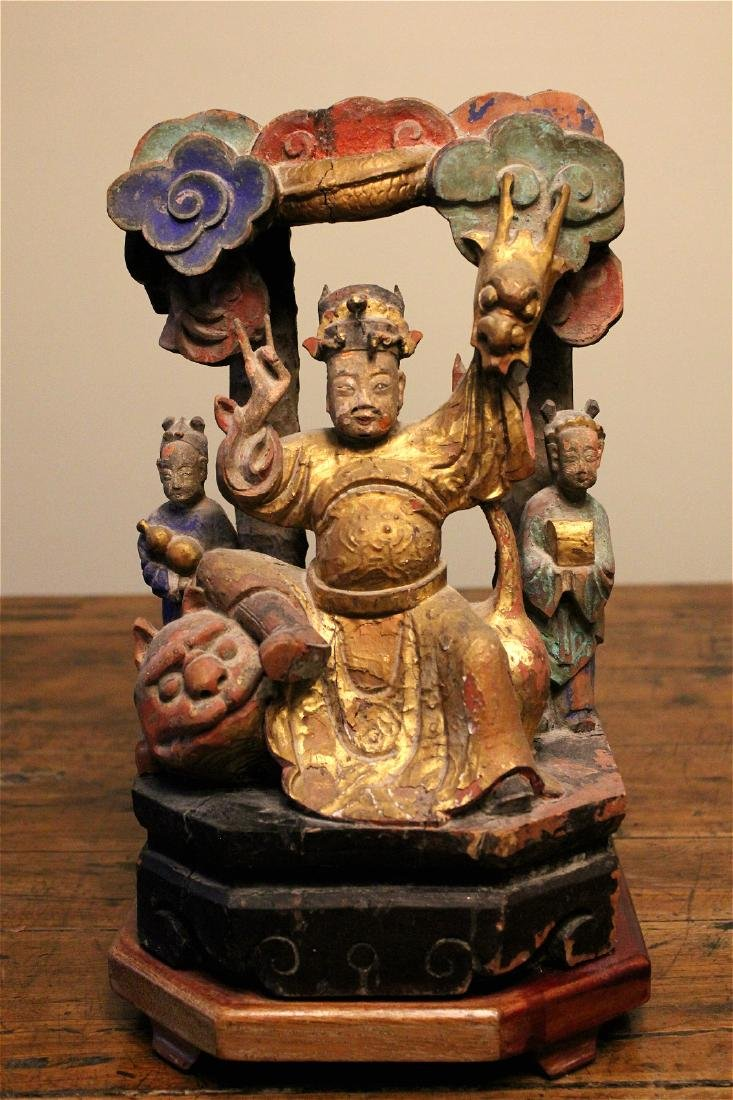 chinese wood carved and lacquered figure