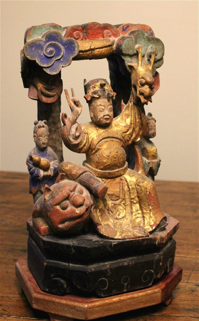 chinese wood carved and lacquered figure - 2