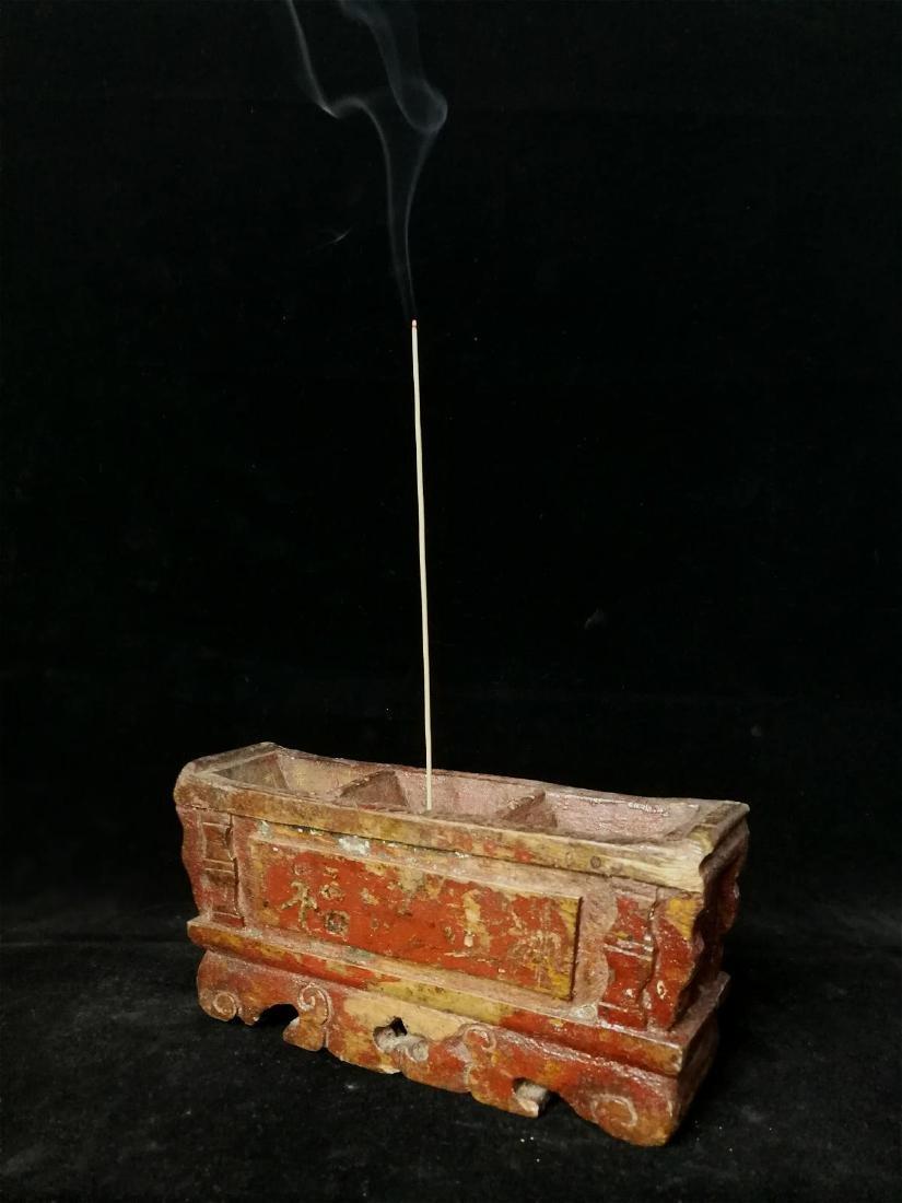 lacquered wood incense burner