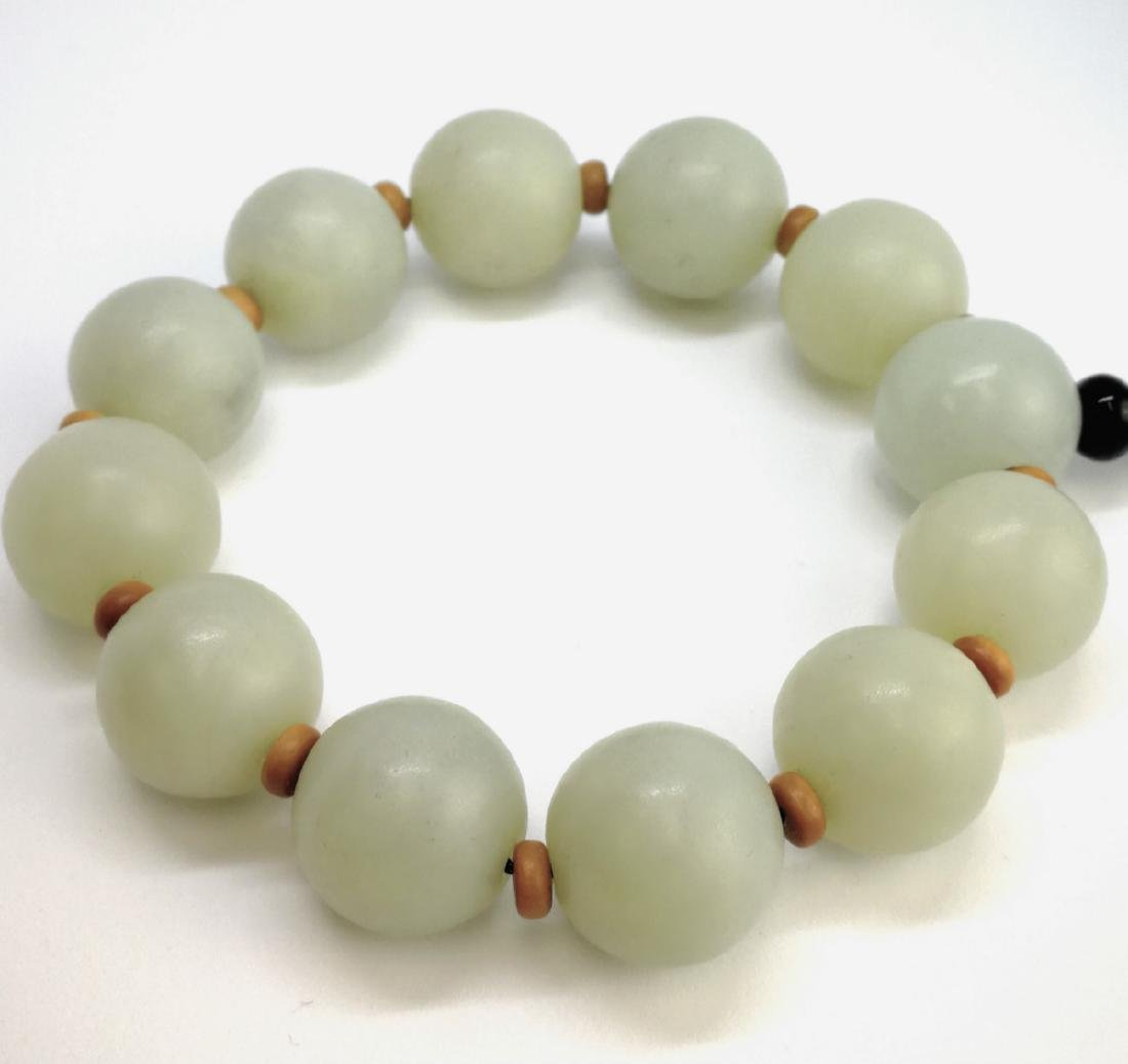 chinese white jade beads bracelet