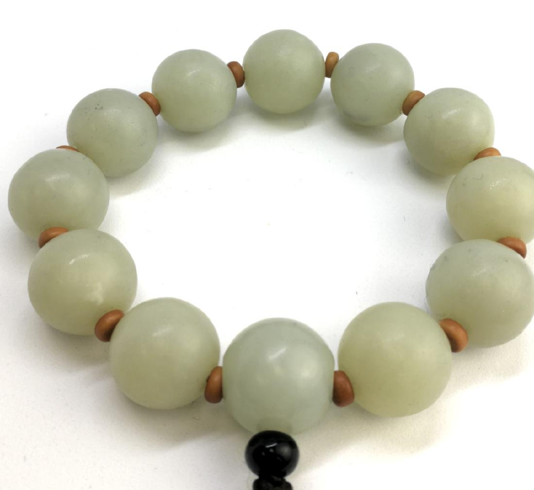 chinese white jade beads bracelet - 3